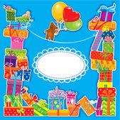 Tarjeta de cumpleaños de bebé con oso de peluche y cajas de regalo para niño — Vector de stock