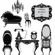 Set of antique furniture - isolated black silhouettes - Stok Vektör