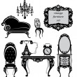 Set of antique furniture - isolated black silhouettes - Stockvektor