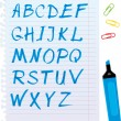 Alphabet set - letters are made of blue marker. — Stock Vector