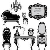 Conjunto de muebles antiguos - siluetas negras aisladas — Vector de stock