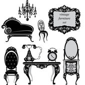 Set of antique furniture - isolated black silhouettes — Stok Vektör