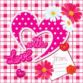 Romantic Card with heart and flowers on checked background — Stock Vector