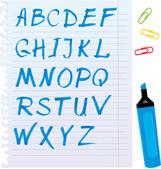 Alfabeto insieme - lettere sono fatte di evidenziatore blu. — Vettoriale Stock