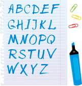 Alfabeto conjunto - cartas están hechas de marcador azul. — Vector de stock