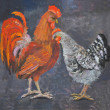 Standing rooster and hen, oil painting picture — Stock Photo #13686497