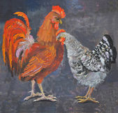 Standing rooster and hen, oil painting picture — Stock Photo