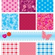 Stock Vector: Fabric textures in pink and blue colors - seamless patterns