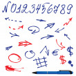 Wektor stockowy : Numbers and symbols (arrows) set - hand drawn picture