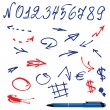 Stock Vector: Numbers and symbols (arrows) set - hand drawn picture