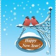Stock Vector: 2 Bullfinches - Happy New Year Card