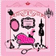 Vettoriale Stock : Princess Room - illustration for girls
