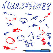 Numbers and symbols (arrows) set - hand drawn picture — Stock vektor