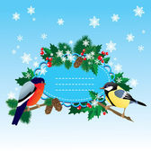 Bullfinch and tit with Christmas tree - oval frame — Stock Vector