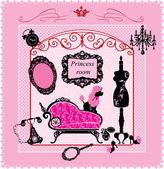 Chambre princesse - illustration pour filles — Vecteur