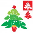 Abstract Happy New Year card - Christmas tree is made of letters — Векторная иллюстрация