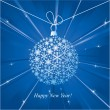 Happy New Year card with christmas ball. — ベクター素材ストック