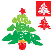 Abstract Happy New Year card - Christmas tree is made of letters — Stock Vector