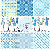 Set of Seamless checkered patterns and mannequins. — Stock Vector