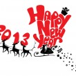 New Year card with flying reindeers 2013 — Image vectorielle