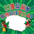 Merry Christmas Card with holly leafs and berries, sweets and be — Imagen vectorial