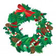 Stock Vector: Christmas garland isolated on white background