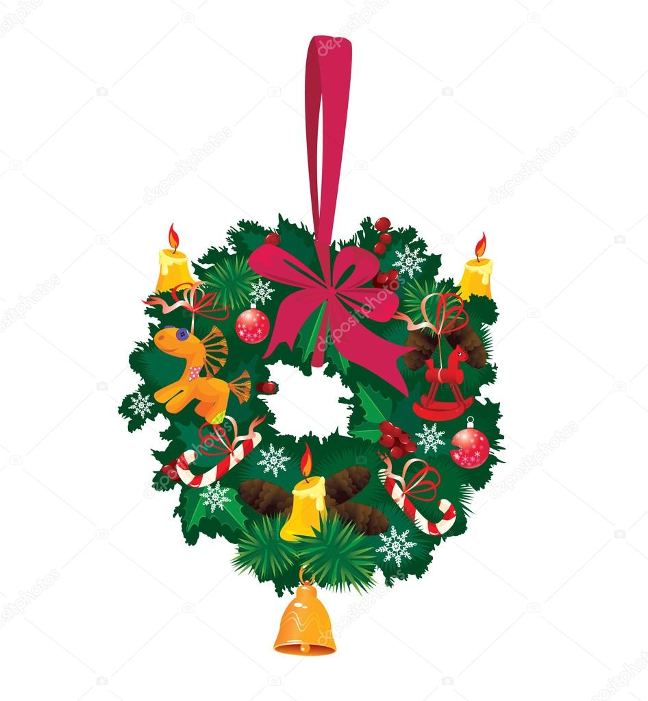 Christmas garland isolated on white background — Stock Vector #14540789