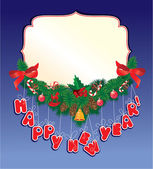 Jul krans på blå bakgrund med tom ram för din t — Stockvektor