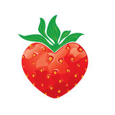 Strawberry heart isolated on white background — Stock Vector
