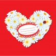 Stock Vector: Heart is made of daisies on red background. Valentines day car