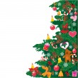 Royalty-Free Stock Vector Image: Christmas tree with accessories isolated on white background wit