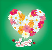 Heart is made of daisies on a green background. Valentines day c — Stock Vector