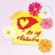 Valentines Day sketch with daisy flowers — Vector de stock