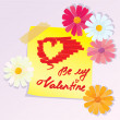 Vector de stock : Valentines Day sketch with daisy flowers
