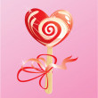 Illustration of heart candy -  lollipop - on pink background — Векторная иллюстрация