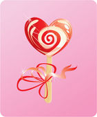 Illustration of heart candy - lollipop - on pink background — Stock Vector