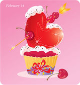 Cute Cupcake with Heart, arrow and cherry. Valentines Card — Stock Vector