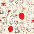Seamless texture with teddy bears, hearts and balloons — Image vectorielle