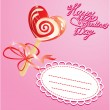 Stock Vector: Valentines Day Card with heart candy - lollipop - on pink backg
