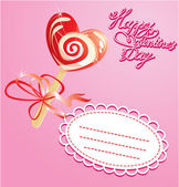 Valentines Day Card with heart candy - lollipop - on pink backg — Stock Vector