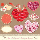 Valentine's day design elements - different hearts — Vettoriale Stock