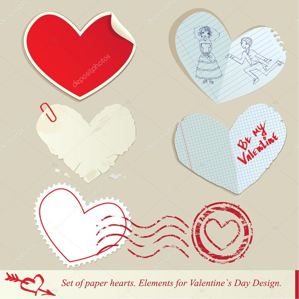 Set of paper hearts. Elements for Valentine`s Day Design — Stock Vector #16494749