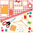 Collection of labels, sewing and knitting tools. — Stock Vector