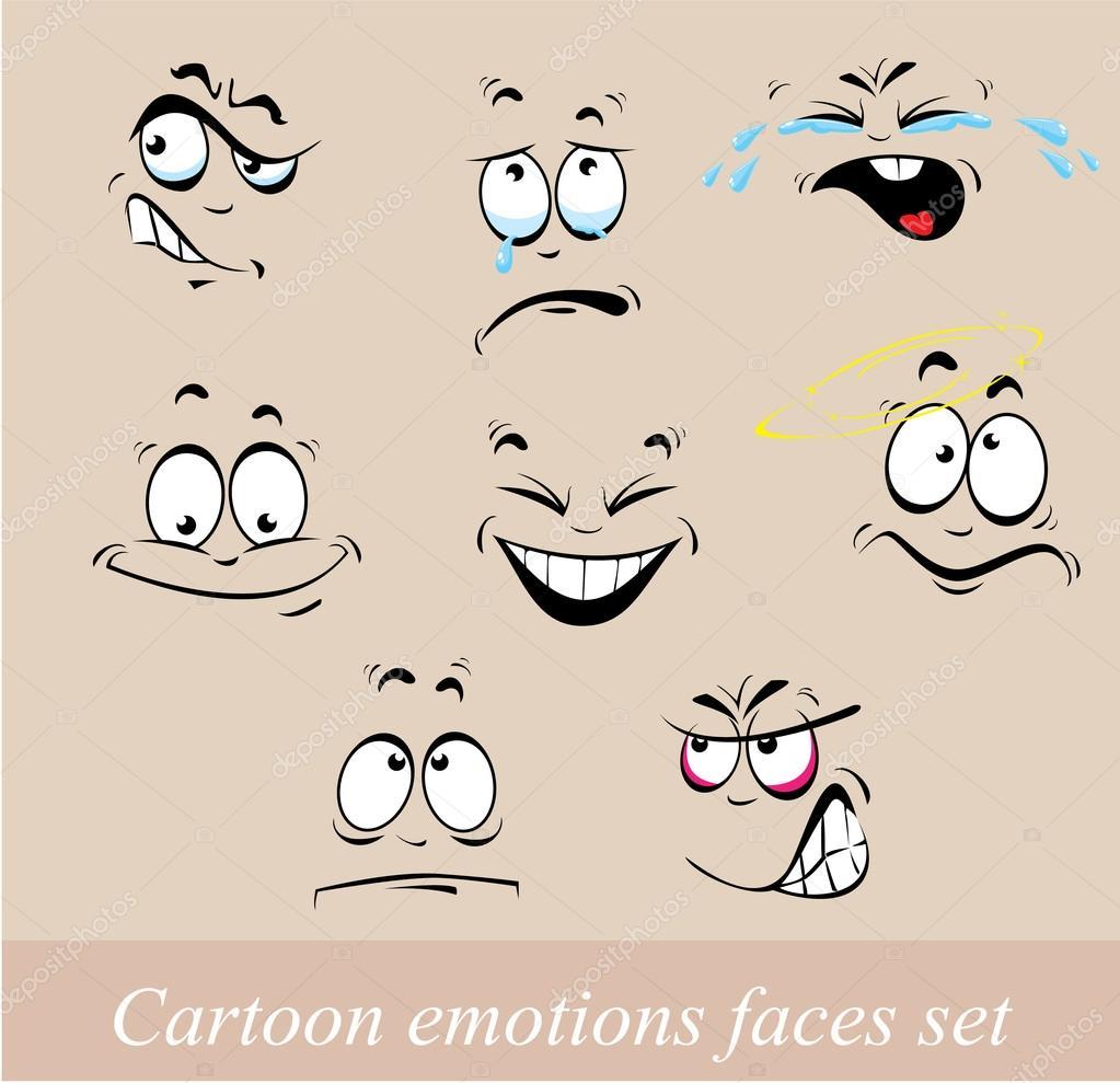 Conjunto de dibujos animados emociones caras — Vector de ...