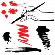 Set of black and red blots and hand with brush on the white back — Image vectorielle