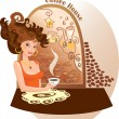 Beautiful girl into coffee house — Stock Vector