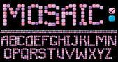 Mozaïek alfabet - roze kleur — Stockvector