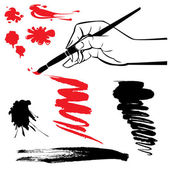 Set of black and red blots and hand with brush on the white back — Stock Vector