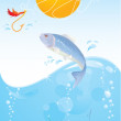 Stock Vector: Fish and hook