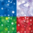 Set of 4 snow backgrounds — Stock Vector #18542045